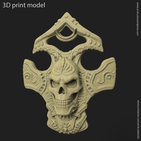 3D printing model Biker skull vol8 pendant, anshu3dartist