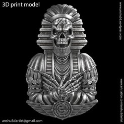 Egyptian_skull_vol2_Pendant_K1.jpg Download STL file Egyptian skull vol2 Pendant and relief  • Object to 3D print, AS_3d_art