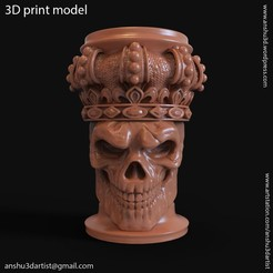 Download 3D printing files King skull with crown vol1 pen holder, anshu3dartist