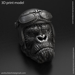 Biker_monkey_vol1_K1.jpg Download STL file biker monkey vol1 Pendant jewelry • 3D printing model, AS_3d_art