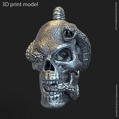 skull_vol11_k2.jpg Download STL file Biker snake skull vol11 Pendant • 3D print object, AS_3d_art