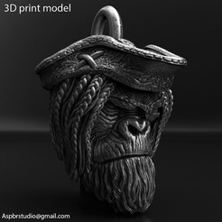 Pirate_monkey_vol2_Pendant_K1.jpg Download STL file Pirate monkey vol2 pendant jewelry • 3D printable model, AS_3d_art