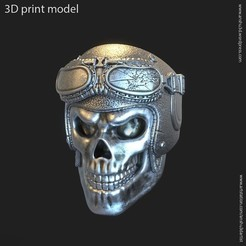 Download STL files Biker helmet skull vol3 ring, anshu3dartist