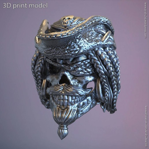 Download 3D printer templates Pirate skull vol2 ring, AS_3d_art