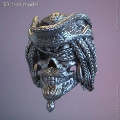 Download 3D printer templates Pirate skull vol2 ring, anshu3dartist