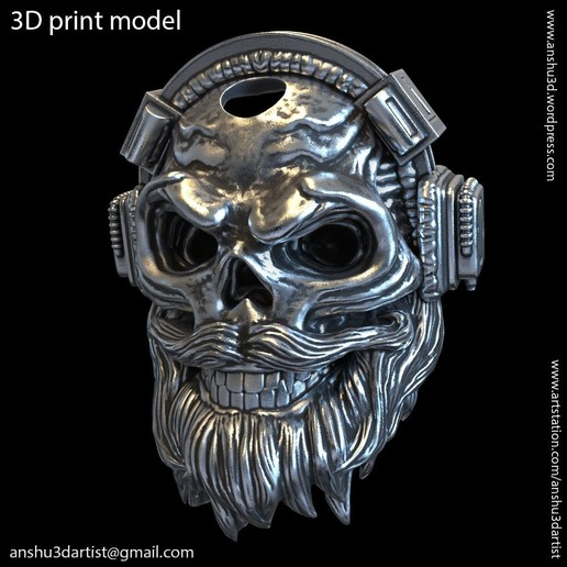 Download 3D printer templates skull headphone pendant vol 6A, anshu3dartist