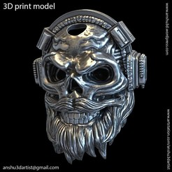 Download 3D printer templates skull headphone pendant vol 6A, anshu3dartist