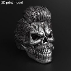 skull_bearded_vol2_ring_k1.jpg Download STL file Skull beared vol2 ring jewelry • 3D printer template, AS_3d_art