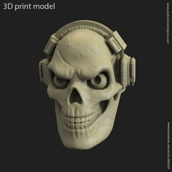 3D printer models Skull with headphone vol3 ring, anshu3dartist