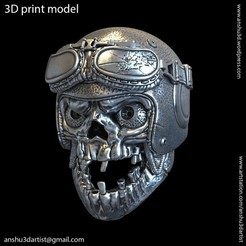 Download 3D printing models SKull biker helmet vol1A Pendant, anshu3dartist