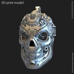Download 3D printing models Robotic skull vol13 pendant, anshu3dartist