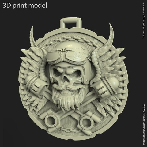 3D print files Biker skull vol3 pendant, anshu3dartist