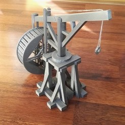 Download free 3D printing templates Medieval crane with motion functions (no supports needed), Ingenioso3D