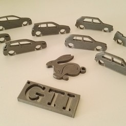 Descargar modelos 3D gratis VW Golf evolution set /mk1+cabrio/mk2/mk3/mk4/mk5/mk6/mk6 + GTI + llavero Rabbit, Ingenioso3D