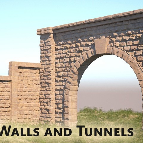 stone wall logo thingy.jpg Download free STL file Stone Walls and Tunnel | D1 • Template to 3D print, InvertLogic