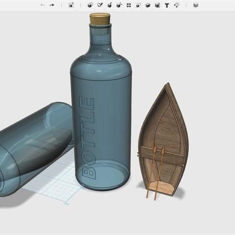 Free 3D printer designs Boat in a bottle #MakerEdChallenge, Pwenyrr