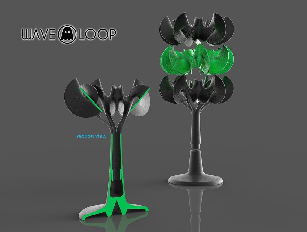 T3_display_large.jpg Download free STL file Ghostly Wave Loop • 3D printable model, Pwenyrr