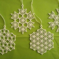 Download free STL files Snowflake Ornaments, wileykyoto