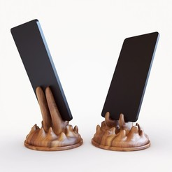 wooden_phone_stand.jpg Download STL file Organic - Phone Stand V2 • 3D printable design, Webshocker
