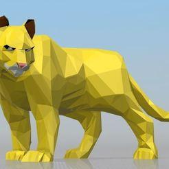 Download STL file Puma - low poly (Cougar) • 3D printer object, hiddenart8