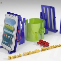 Download free STL file Beach Umbrella Double Holder for Smartphones • 3D print object, Caghon3d