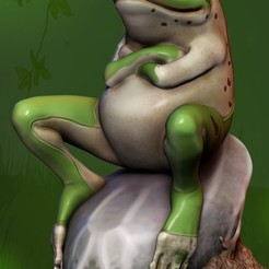 001.jpg Download STL file Frog Waiting • 3D printable template, Phantoshe