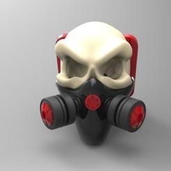 Descargar archivos STL Soporte para el teléfono con mascara de gas y cráneo, fer4lvarez