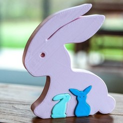 Download free 3D printing files Easter rabbit puzzle, Syboulette