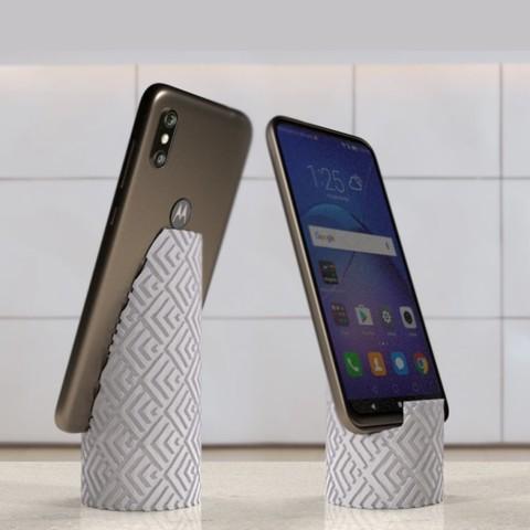 RENDUsquare.jpg Télécharger fichier STL gratuit Textured column phone stand • Design à imprimer en 3D, Syboulette