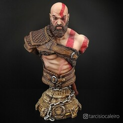 Kratos 01.jpg Download STL file Kratos Bust • Template to 3D print, tarcaleiro