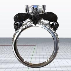 Download 3D printing templates Bat Ring Halloween Cad Design, KalamityKontact