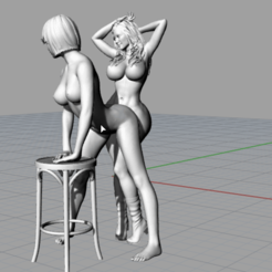 Download 3D printer templates Lesbian Erotica Tribadism On A stool, EverlastingImpressions