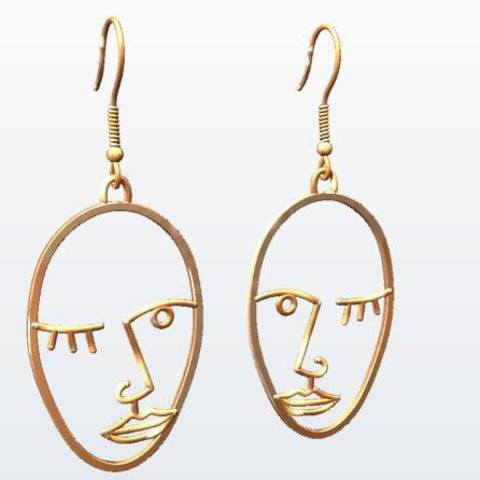 3D printer files Picasso Face Earrings, EverlastingImpressions