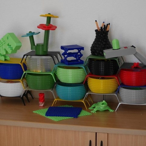 Free 3D print files Shelf System for Faceted Bowl, SunShine