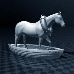 Download free STL Horse In A Boat, FiveNights