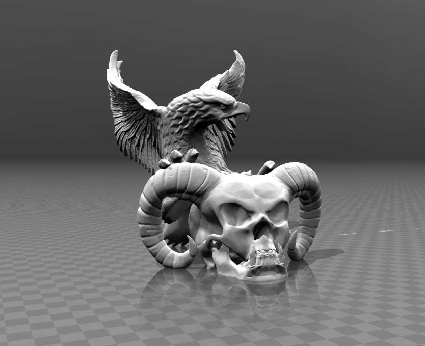 64691b4d7d41b0bdd60284f79e487144_display_large.jpg Télécharger fichier STL gratuit Crâne et aigle du diable • Modèle imprimable en 3D, FiveNights