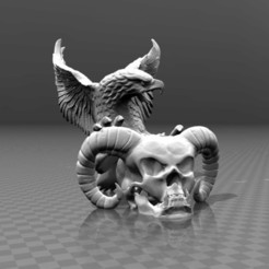Free STL files Devil skull & Eagle, FiveNights