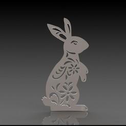 Rabbit render.JPG Télécharger fichier STL Décalcomanie du lapin de Pâques • Design pour imprimante 3D, Stevejawel