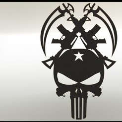 Punisher render3.JPG Télécharger fichier STL Décalcomanie du punisseur • Modèle à imprimer en 3D, Stevejawel