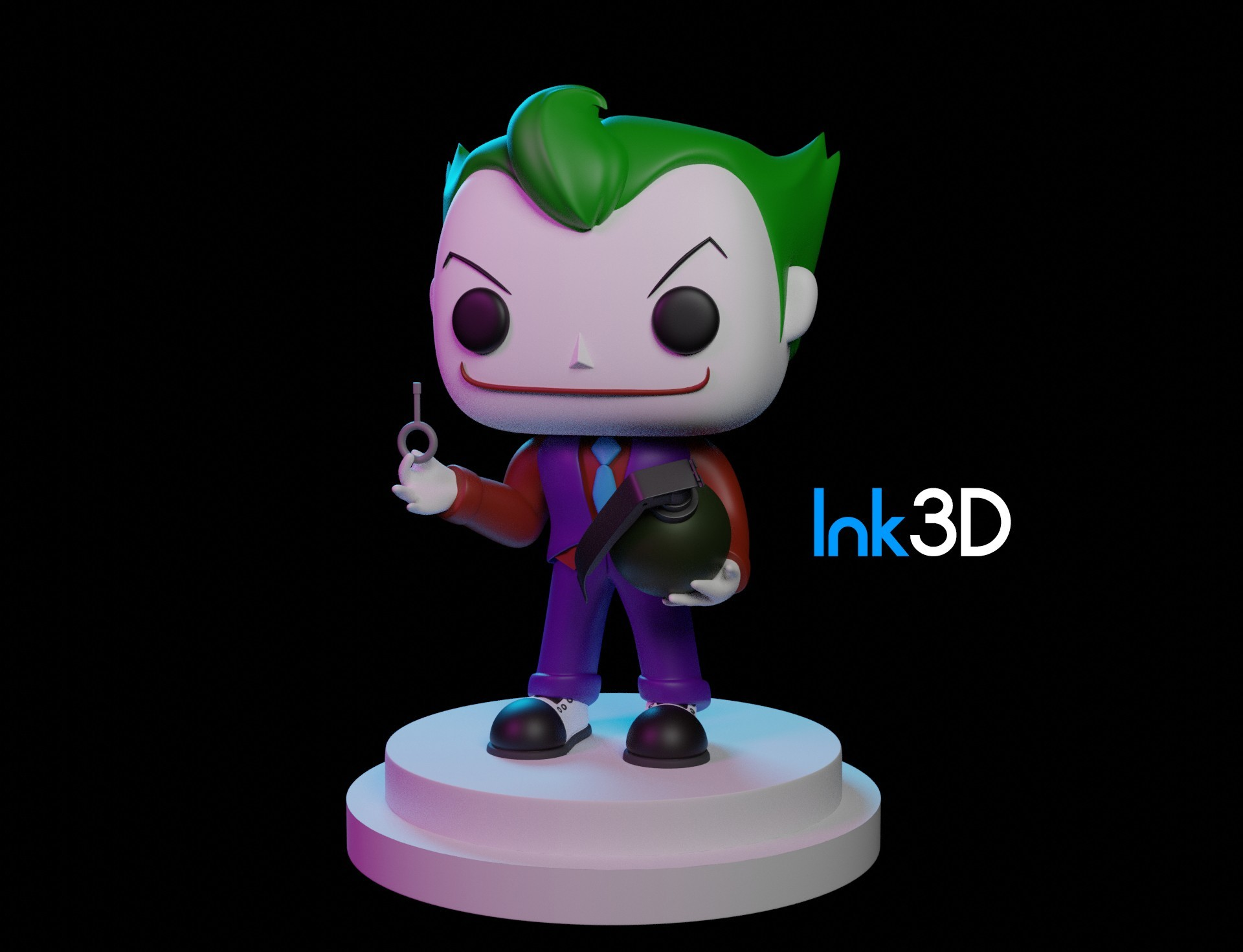 Jokerfunko.jpg Download free STL file Funko Joker • Template to 3D print, Ink3D