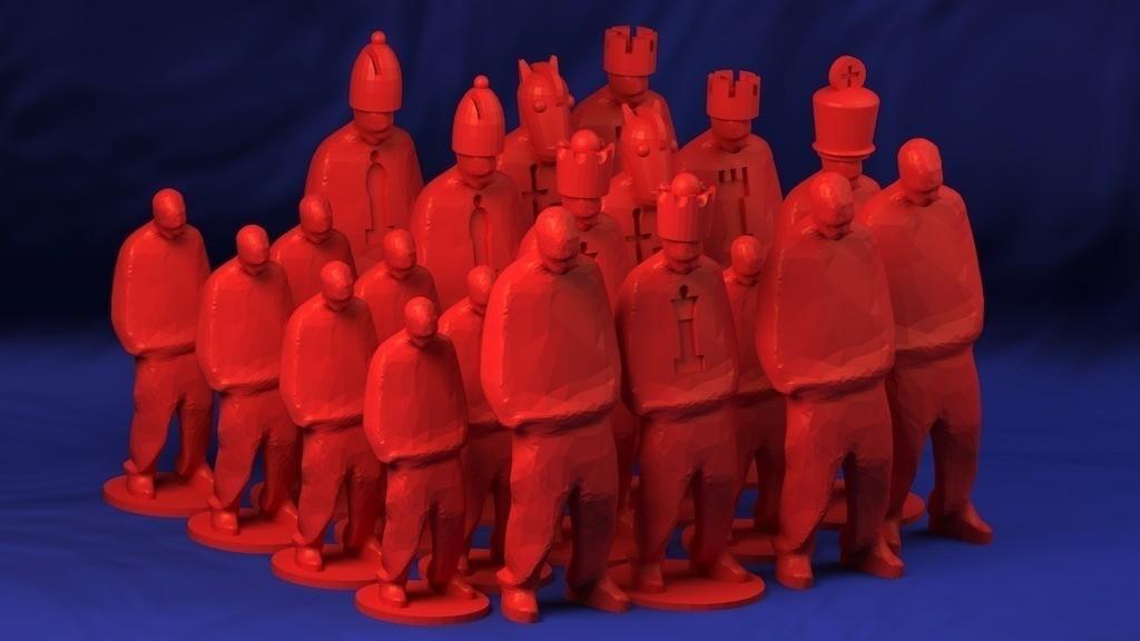 GangstaChessRendering_display_large_display_large.jpg Télécharger fichier STL gratuit Gangsta Chess Set as one build plate • Modèle à imprimer en 3D, Bolog3D