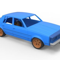 1.jpg Download STL file Diecast shell and wheels Oldsmobile Cutlass Supreme 4 door coupe classic 1983 Scale 1 to 24 • 3D printable model, 3DTechDesign