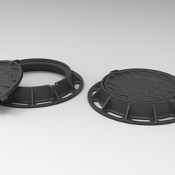 1.jpg Download free STL file Diecast model Street manhole Scale 1:10 • 3D printable template, 3DTechDesign