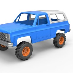 1.jpg Download STL file Diecast shell and wheels 1980 Chevrolet Blazer K5 with style grid Scale 1 to 25 • 3D print model, CosplayItemsRock