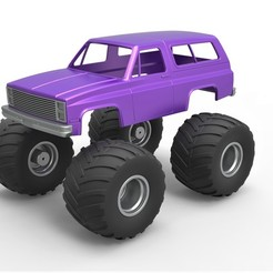 1.jpg Download STL file Diecast shell and wheels 1988 Chevrolet Blazer K5 monster truck Scale 1 to 25 • 3D printable object, CosplayItemsRock