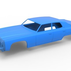 Download 3D printing designs Diecast shell Chevrolet Impala 1972 4 doors Scale 1 to 24, 3DTechDesign