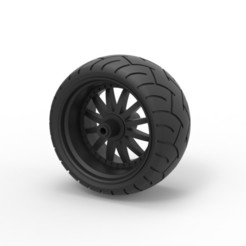Download 3D printing templates Diecast Wide rear wheel from Chopper, DmK