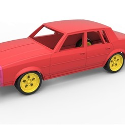 1.jpg Download STL file Diecast shell and wheels Oldsmobile Cutlass Supreme 4 door coupe classic 1983 Scale 1 to 43 • Model to 3D print, 3DTechDesign