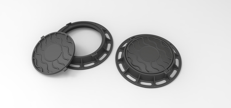 2.jpg Download free STL file Diecast model Street manhole Scale 1:10 • 3D printable template, 3DTechDesign