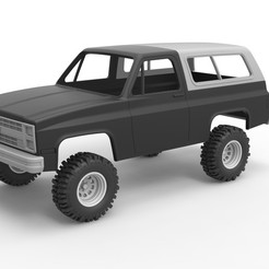 Download 3D printing designs Diecast shell and wheels 1988 Chevrolet Blazer K5 Scale 1 to 25, 3DTechDesign